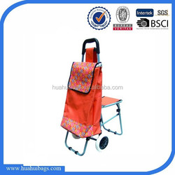 Practical Style orange trolley shopping bag with chair