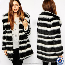 Wholesale clothing factory women fashion stripes natural mink fur coat women 2015