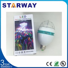 3W Full Color led rotating light RGB E27 Disco Party