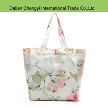 High quality ladies casual rosebud printing canvas floral handbags