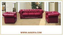 Button Tufted Upholstered Leather Sofa Set/retro Vintage Style Genuine Leather Chesterfield Sofa