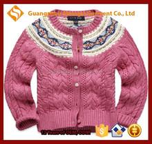 Children kids floral flower print button down twisted pattern cardigan sweater