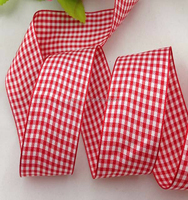 wholesale 5/8'' 15mm polyester Christmas scottish tartan plaid ribbon 50yards/lot for dress diy