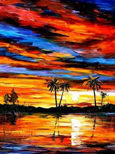 Original wall picture tropical sea sunset landscape oil painting on canvas