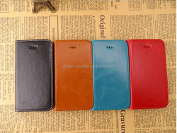 Wax pattern PU Leather Stand Case for iphone 4 4s With suction cups