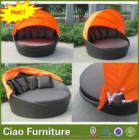 garden furniture wicker round sunbed beach outdoor sunbed