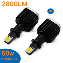 H3 50W 5000~6000K white 2800LM car headlight for all cars