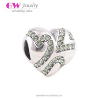 Fashion Green Cz Stones With Heart Charm Beads 925 Sterling Silver Jewelry Fit European Brand Bracelets Diy Making