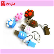 2015 hottest 3d cute paw design silicone USB flash drive