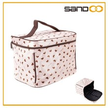 Cute Heart Pattern Makeup Pouch Case, Lady Pink Beautiful Cosmetic Bag