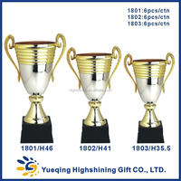 Custom souvenir metal trophies silver and gold award golden medal and trophy cup