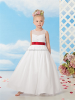 Fashion Illusion Soft Organza Girls Pageant Gowns Red Sash Weddings latest dress designs for flower girls FXL-248