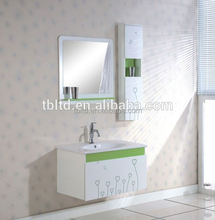 white mirrored MDF, PVC wall mounted bath shower wrap and bathroom vanity