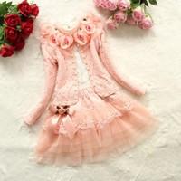 VT635 Autumn three pieces princess girls boutique clothing sets 2015