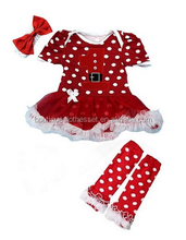 2015 Baby Christmas 1st Santa Polka Dot Bodysuit Dress Leg Warmer Shoes Set Christmas Little Princess suit