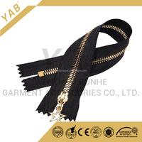 No.3 ykk light gold corn teeth brass metal zipper for leather jacket