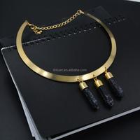 wholesale gold jewelry Natural black Druzy pendant quartz crystal collar Necklace