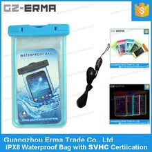 Luminous PVC Waterproof Case for Cell Phone for iPhone 6 Plus with Neck Hanging Armband and Waterproof Earphone Jack