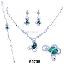 stylish green stone micro setting cz silver necklace sets