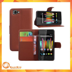 2015 Lichee Pattern Wallet Style Magnetic Flip Stand PC + PU Leather Cover Case for Wiko Kite 4G Leather Case Cell Phone Case