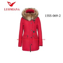 2015 fashion parka slim wholesale women's clothing with real raccon fur