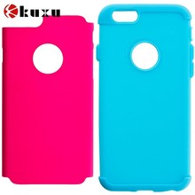 Baby Blue and Hot Pink Hybrid Slim Hard Soft Rubber Impact Protector Case Cover for Apple iPhone