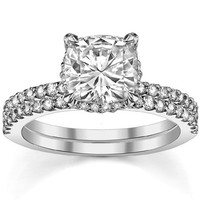 WRSS07 Wedding&Engagement Solitaire 925 Sterling Silver Zirconia White Gold Plating Female Ring Sets