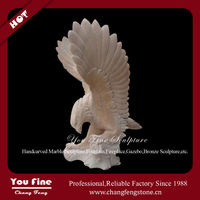 Yellow marble carving flying garden statues eagle