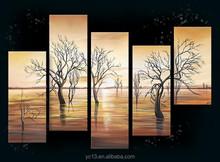 5pcs panel african landscape handmade decor painting pl-445