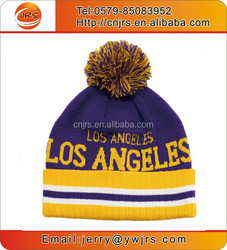 OEM custom winter warm knitted ski beanie hat with pom pom