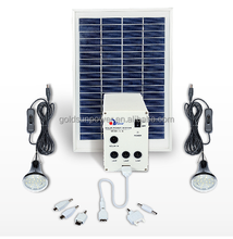 mini home solar lighting system/ multi-function home solor kit with 7 USB port