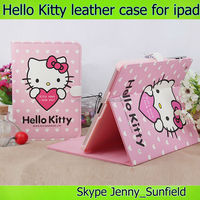 Tablet case cover super slim Hello Kitty folio leather case for Ipad 2 3 4, for ipad case leather folio