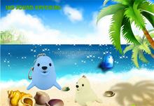 LED Cartoon Animal Keychain sea lion Keyring with sound