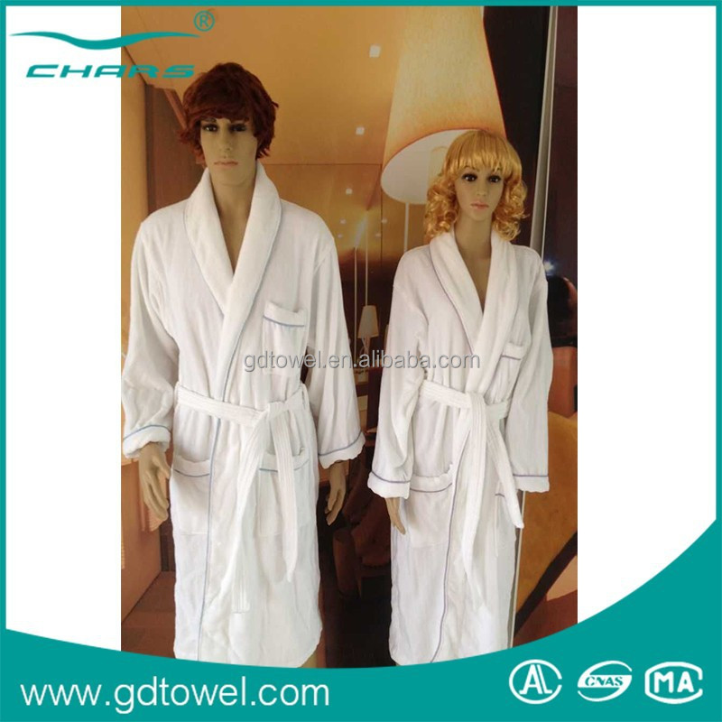 Wholesale Patterned embroidered bathrobe Luxury velour and terry bathrobe 1100g/piece Cotton Velour Hotel Bathrobe with pocket