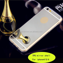 Luxury Mirror Electroplating Soft Clear Gel Tpu Cases For iPhone 6 Plus Capa Back Cover Protective Phone Cases for 6 Plus