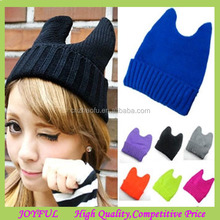 2015 Winter Cheap Solid Color Cat Ear Knitted Hat