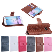 Magnetic Flip Weave Pattern Wallet Handmade Leather PU Case for Samsung Galaxy S6