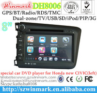 DH8006 8inch HD touch screen car dvd for Honda Civic 2012 with gps ,PIP,IPOD,RDS,DVB-T,bluetooth function