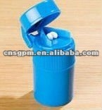 Plastic Round Pill Cutter and Pill Case in blue