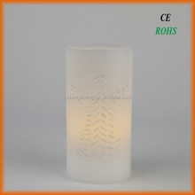 LED flameless carved candle,carved with angel,flat top