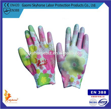 Household Cleaning Colourful PU Coated Gloves
