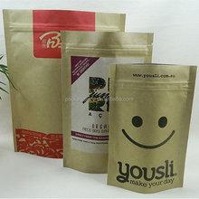 food grade eco-friendly kraft paper window bag for penuts ,seed ,coffee bean packaging