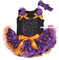 I have Daddy under my Spell Halloween Black Top Pumpkin Girls Baby Skirt 3-12M
