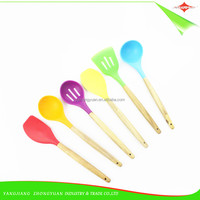 ZY-A1095 6 pcs colorful silicone kitchen utensils with beech wood handle