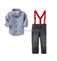 2015 Newest Baby Product With Cloth Sets Service In Stock Shirt+Tie+Eight Braces 3pcs Cloth Set