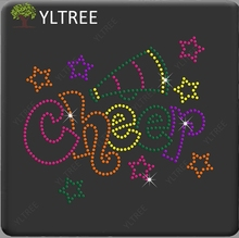Colorful Cheer with Horn & Stars Rhinestone Iron-on Hot Fix Heat Transfer Paper