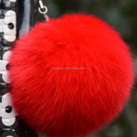 High quality fake fur ball bag accessories multicolor faux fur keychain