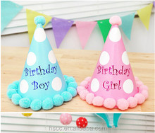 Hot Sale Baby Birthday Party Hat Eco-friendly Paper Hat With Plush Ball