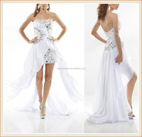 2015 China manufacturer strapless white beaded chiffon high low hem fishtail short front long back evening dress
