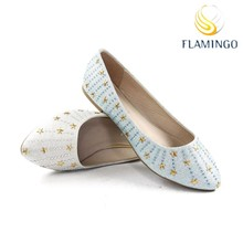 FLAMINGO 2015 LATEST ODM OEM women shiny flat shoes casual ladies flat shoes flat pump shoes